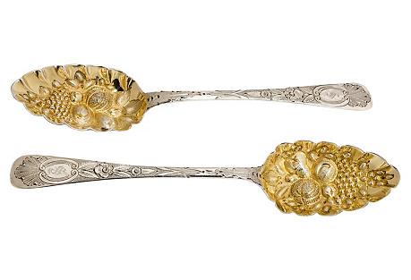 Antique Irish Silver Spoons, S/2