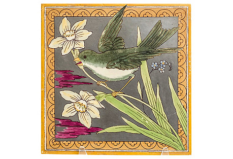 19th-C. Minton Bird Motif Tile