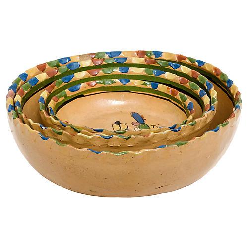 Mexican Tlaquepaque Pottery Bowls, S/4