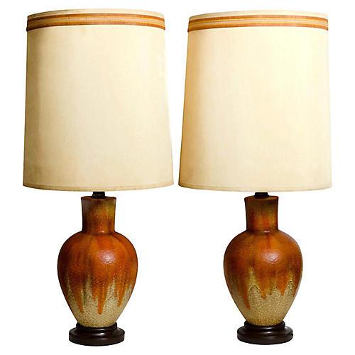 Studio Pottery Table Lamps, Pair