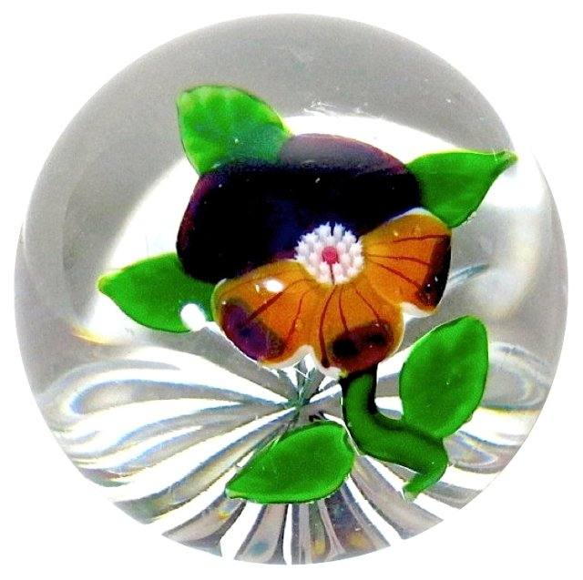 Baccarat Crystal Pansy Paperweight