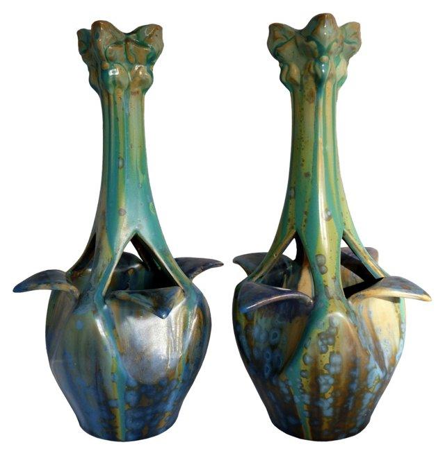 Pierrefonds Art Nouveau Vases, Pair